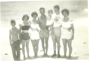 Bob and Net with group at beach